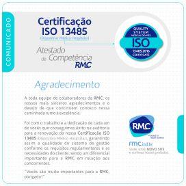 Renovação da Certificação ISO 13485 (Dispositivo Médico Hospitalar)